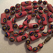 Gorgeous Salmon Pink Cobalt Blue Hand Blown Millefiori Glass Beads Vintage Necklace Italy