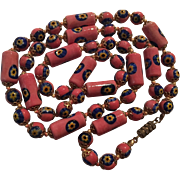 Gorgeous Coral Salmon Cobalt Blue Hand Blown Millefiori Glass Beads Vintage Necklace Italy