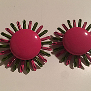 Fabulous Flower Power 1960s Enamel Vintage Clip Earrings