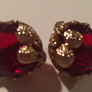 Coro Signed Ruby Red Huge Faceted Crystals Crown Setting Vintage Earrings