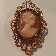 Hobe Signed Cameo Ornate Filigree Frame Oval Swarovski Crystal Rhinestones Vintage Brooch Pin