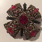 Rare Selini Signed Maltese Renaissance Revival Vintage Statement Brooch Pin