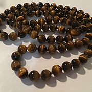 Long 32 inch Hand Knotted Tiger Eye Vintage Necklace