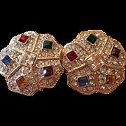 Stunning Jeweled Swarovski Crystals Statement Vintage Clip Earrings