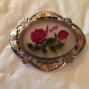 Fabulous Signed  Reverse Carved Flowers Sterling Silver Black Hills Gold Vintage Brooch Pin