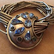 Cornflower Blue Glass Rhinestones on 15 strands liquid Silver type Stretchy Vintage Bracelet