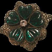 Czech Fabulous Green Glass Ridged Hearts Ornate Filigree Brass Vintage Brooch Pin