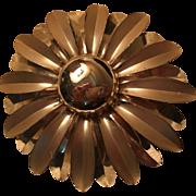 Huge Flower Power Matte Shiny Gold tone finish Vintage Statement Brooch Pin