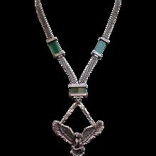 Russian vintage silver necklace agate stones silver eagle pendant