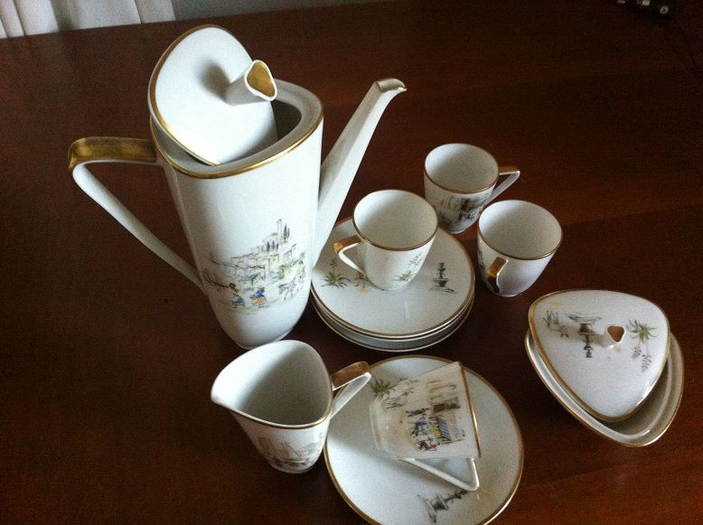 Painted Hutschenreuther coffee set. Coffee pot, saucers and cups, milk jug, sugar bowl. Vintage porcelain.