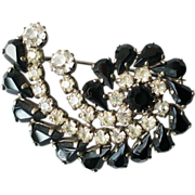 Snail shaped vintage pin brooch black clear crystals costume jewelry
