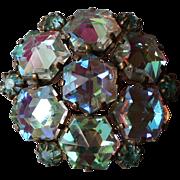 Snowflake vintage brooch ice blue AB crystals elegant jewelry.