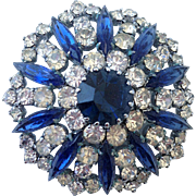 Turquoise blue crystal vintage brooch rhinestone jewelry