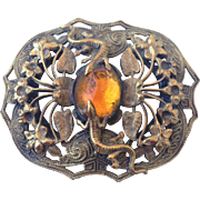 Copper vintage lizard flowers old cabochon brooch