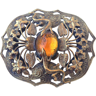 Copper vintage lizard flowers old cabochon brooch