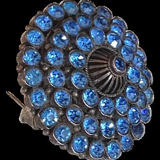 Crystal vintage brooch pendant elegant turquoise color rhinestones fashion jewelry