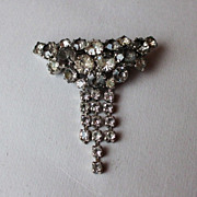 Gray and clear crystal pin brooch vintage jewelry