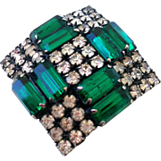 Vintage crystal  forest green rhinestones cross brooch flea market jewelry