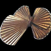 Bow-tie butterfly vintage metal brooch estate jewelry