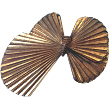 Bow-tie butterfly vintage metal brooch estate jewelry