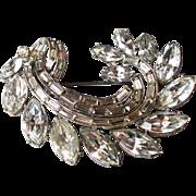 F clef Snail shape vintage crystal brooch flea market jewelry