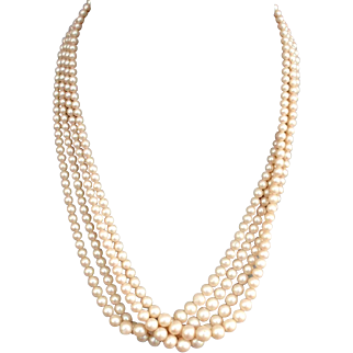 Vintage 4 strand glass pearl necklace sliver marquisettes clasp