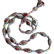 Embroidered vintage necklace tassel snake skin miniature glass beads