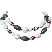 Venetian lampwork sea gray white vintage long necklace
