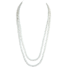 Signed Miriam Haskell white art glass bead necklace