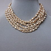 Vintage faux rice pearl necklace, estate jewelry for high end fashion.