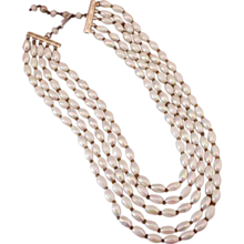 Multi strand AB vintage white glass bead necklace upscale jewelry