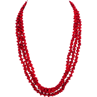Cherry red glass coral beads very long necklace bracelet