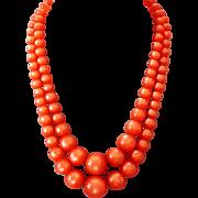 Orange color cellulose plastic ball bead vintage necklace