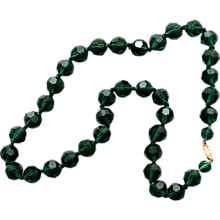European vintage forest green Czech crystal  beads costume necklace