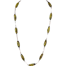 Venetian black yellow speckled glass handmade beads vintage necklace