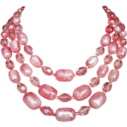 Pink bead necklace Audrey Hepburn vintage romantic jewelry