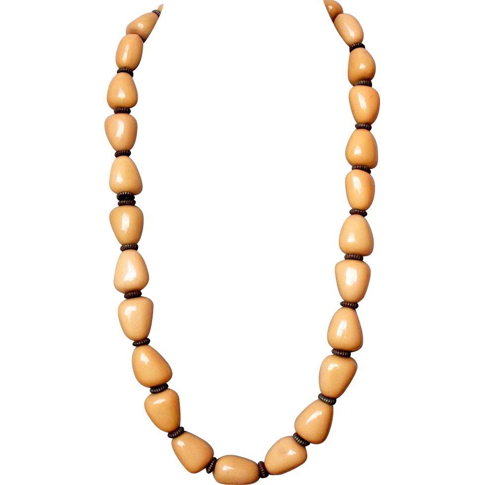 Pebble-yellow long bead necklace vintage collectors ...