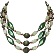 European vintage 3 strand necklace green plastic and glass beads
