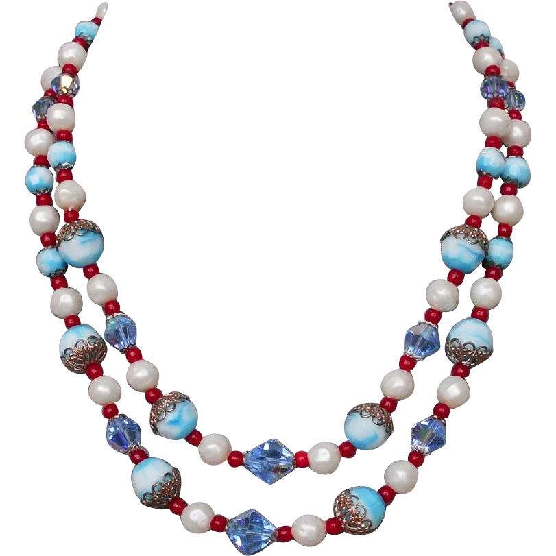 Blue red white faux pearls crystal glass bead vintage necklace