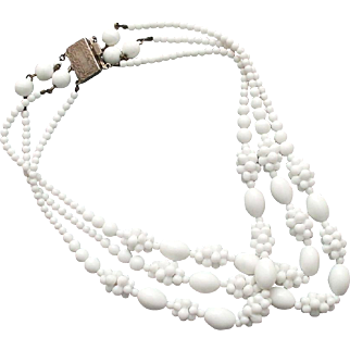 Milk white raspberry glass beads three strand vintage necklace