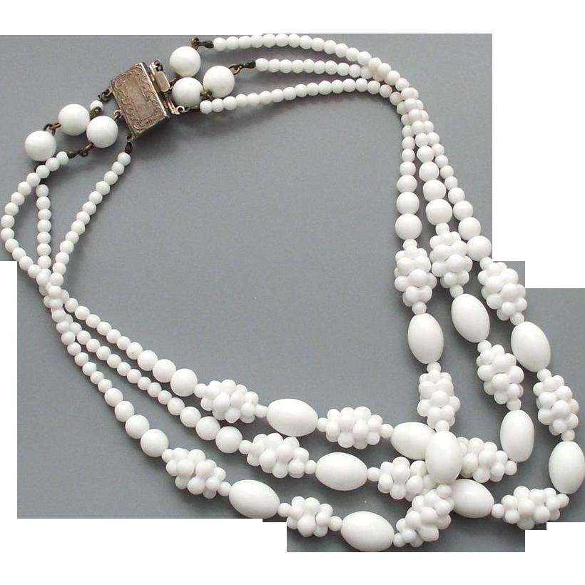 Milk white raspberry glass beads three strand vintage necklace