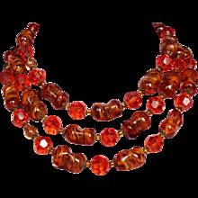 Auburn vintage Murano glass Venetian crystal beads  long necklace.