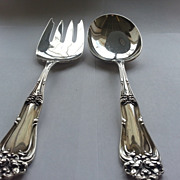 Amston Sterling Serving Spoon and Fork Champlain Pattern