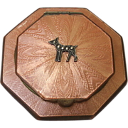 Vintage Peach Guilloche  Compact With Terrier Dog Motif