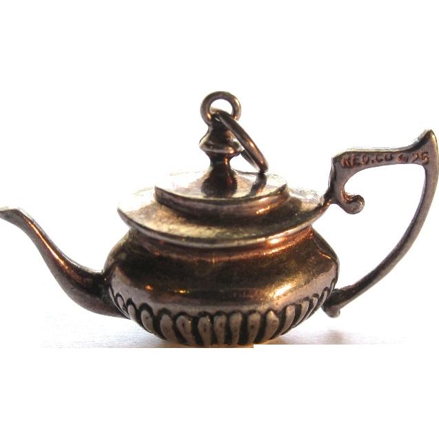 vintage sterling silver teapot charm pendant 3 d sold on