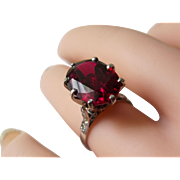 Art Deco Platinum Diamond Ring With Huge 6.16ct Natural Oval Rubellite