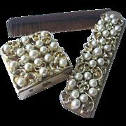 Vintage Diamond Rhinestone & Faux Pearl Comb and Pill Box