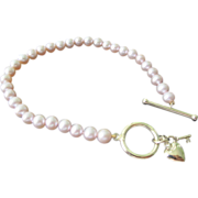 Estate Pink Cultured Baroque Pearl Bracelet With 14K Yellow Gold