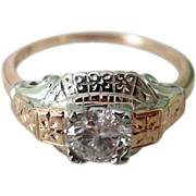 Vintage Art Deco Two-Tone 14K .66ct Diamond Engagement Ring