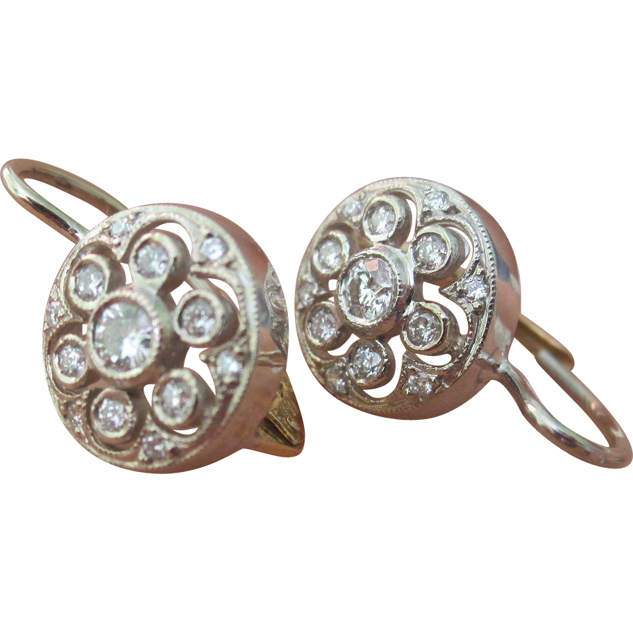 STUNNING! Estate 18K White/Yellow Gold .74tcw Diamond Edwardian Style Earrings